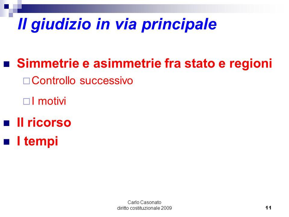 Carlo Casonato diritto costituzionale 200911 Il giudizio in via principale Simmetrie e asimmetrie fra stato e regioni  Controllo successivo  I motiv