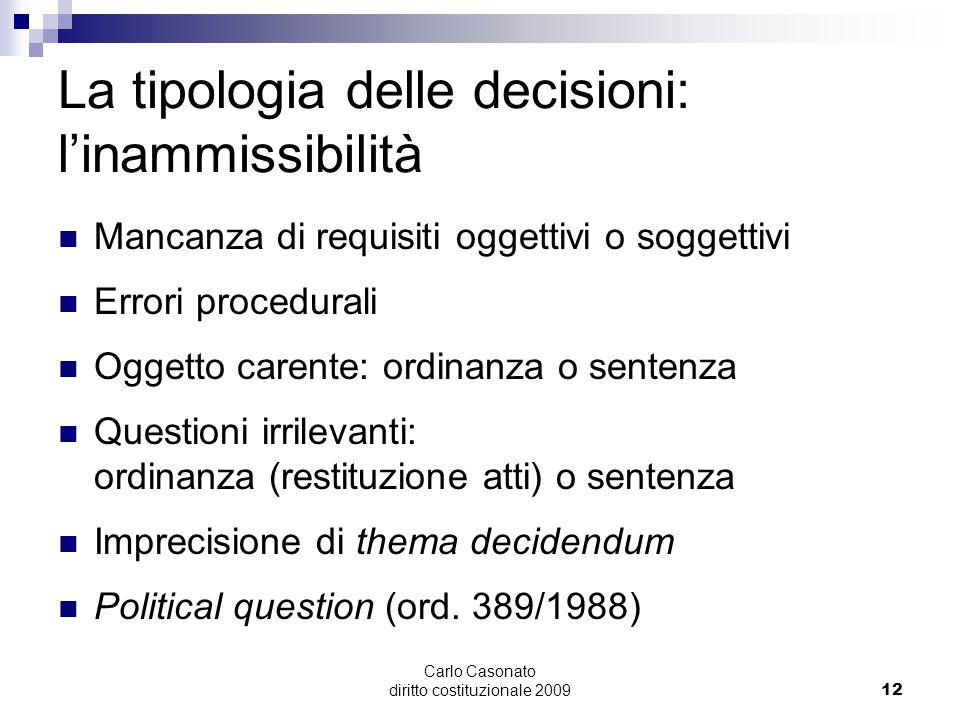 Carlo Casonato diritto costituzionale 200912 La tipologia delle decisioni: l'inammissibilità Mancanza di requisiti oggettivi o soggettivi Errori proce