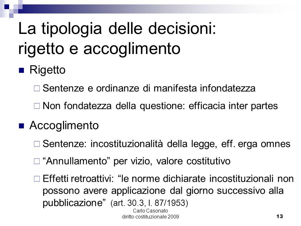 Carlo Casonato diritto costituzionale 200913 La tipologia delle decisioni: rigetto e accoglimento Rigetto  Sentenze e ordinanze di manifesta infondat