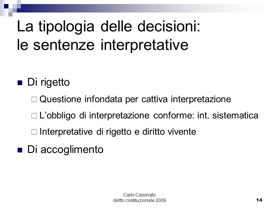 Carlo Casonato diritto costituzionale 200914 La tipologia delle decisioni: le sentenze interpretative Di rigetto  Questione infondata per cattiva int
