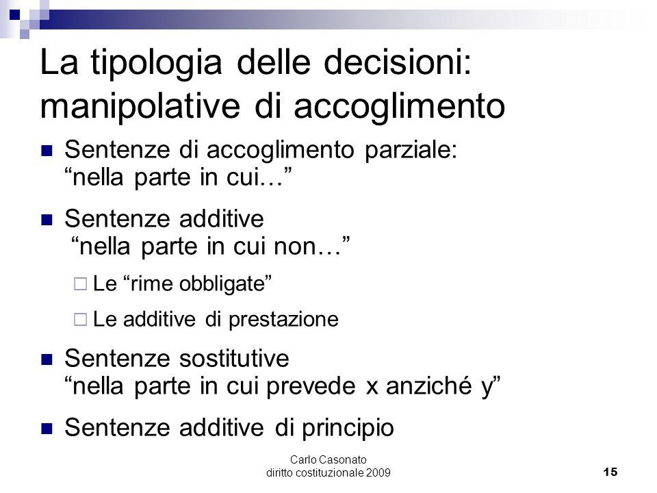 """Carlo Casonato diritto costituzionale 200915 La tipologia delle decisioni: manipolative di accoglimento Sentenze di accoglimento parziale: """"nella part"""
