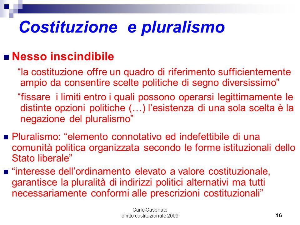 """Carlo Casonato diritto costituzionale 200916 Costituzione e pluralismo Nesso inscindibile """"la costituzione offre un quadro di riferimento sufficientem"""