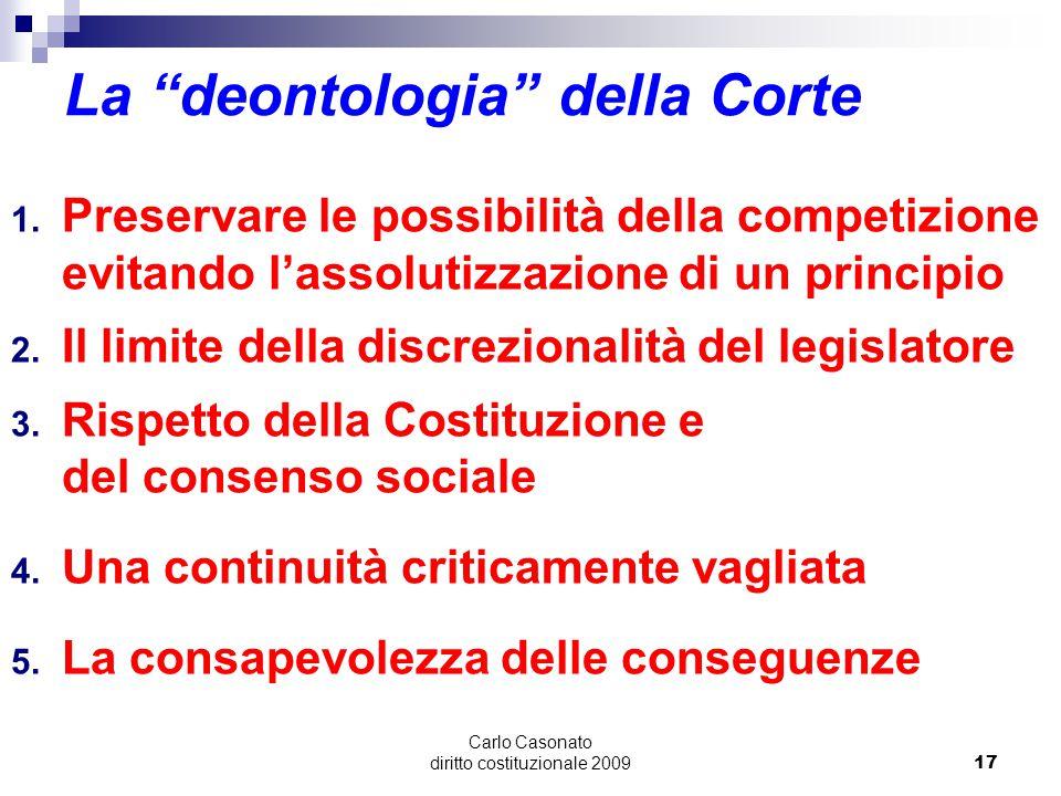 """Carlo Casonato diritto costituzionale 200917 La """"deontologia"""" della Corte 1. Preservare le possibilità della competizione evitando l'assolutizzazione"""