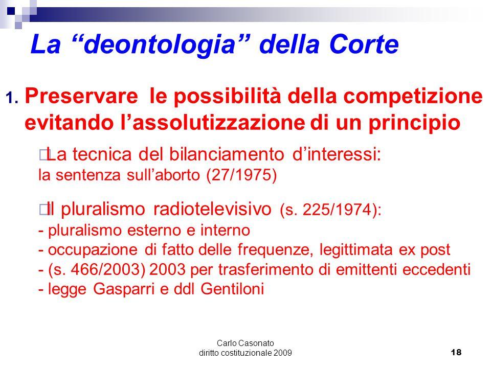"""Carlo Casonato diritto costituzionale 200918 La """"deontologia"""" della Corte 1. Preservare le possibilità della competizione evitando l'assolutizzazione"""