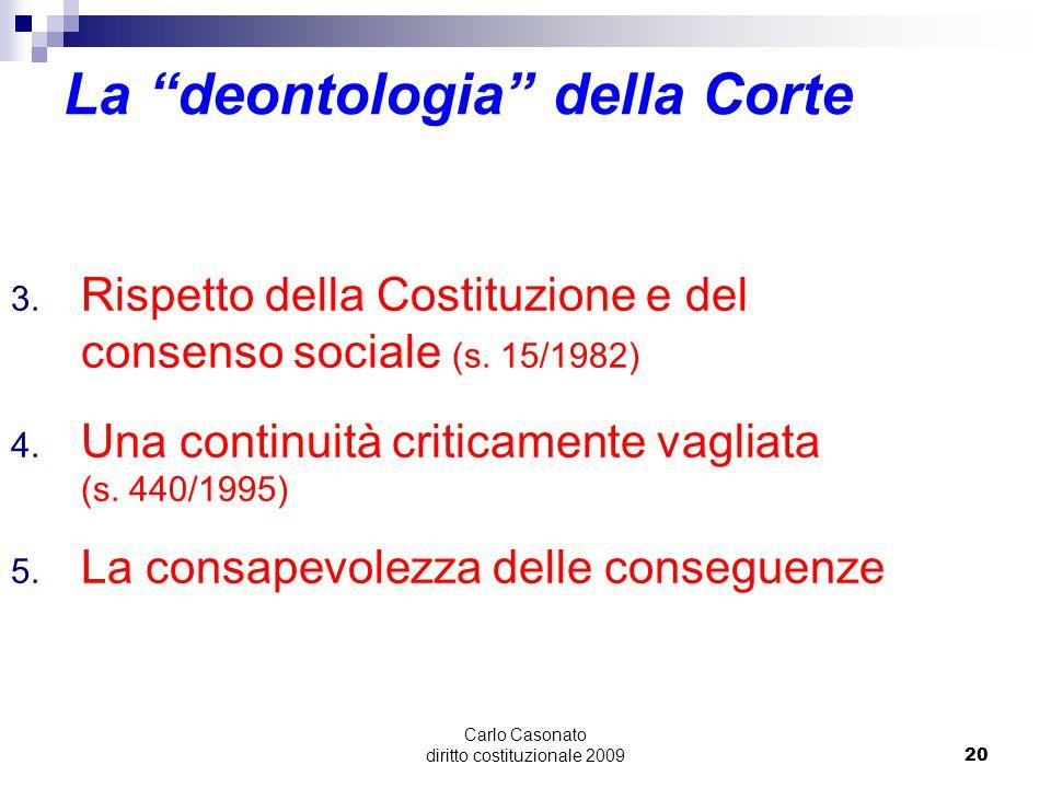 """Carlo Casonato diritto costituzionale 200920 La """"deontologia"""" della Corte 3. Rispetto della Costituzione e del consenso sociale (s. 15/1982) 4. Una co"""