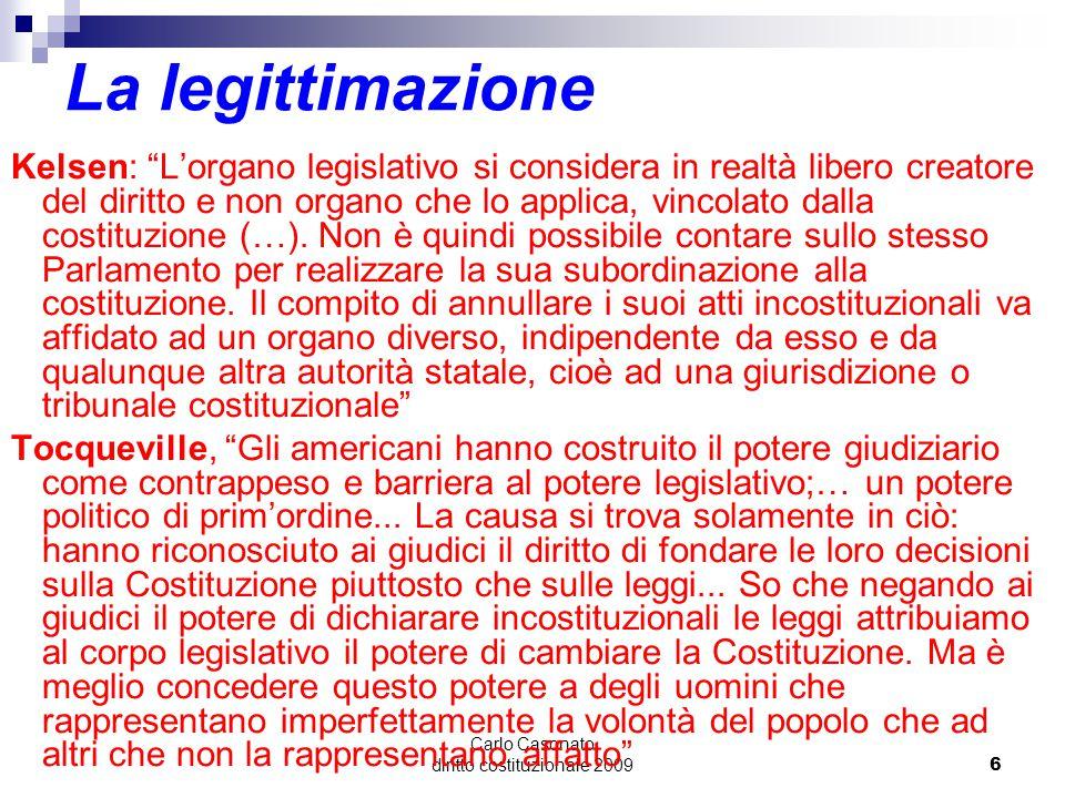 """Carlo Casonato diritto costituzionale 20096 La legittimazione Kelsen: """"L'organo legislativo si considera in realtà libero creatore del diritto e non o"""