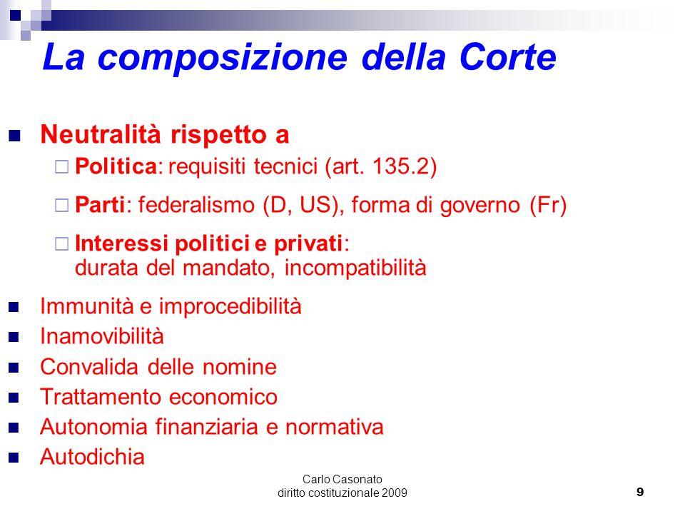 Carlo Casonato diritto costituzionale 20099 La composizione della Corte Neutralità rispetto a  Politica: requisiti tecnici (art. 135.2)  Parti: fede