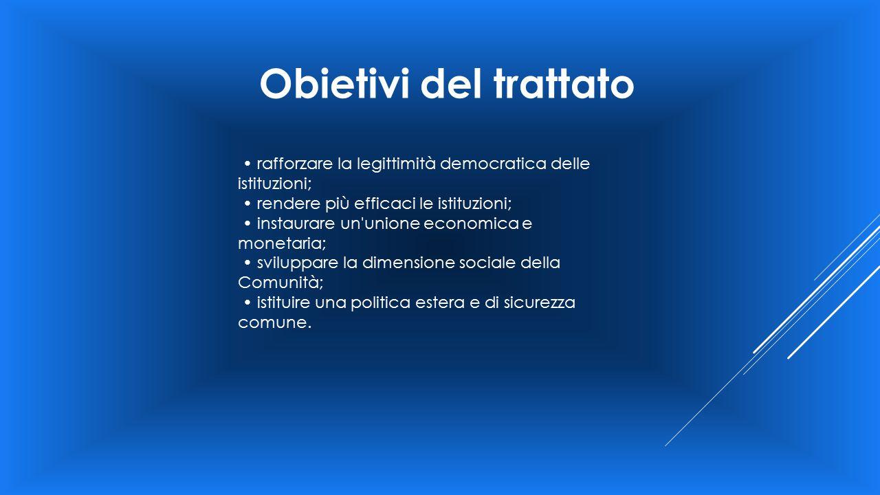 Obietivi del trattato rafforzare la legittimità democratica delle istituzioni; rendere più efficaci le istituzioni; instaurare un'unione economica e m