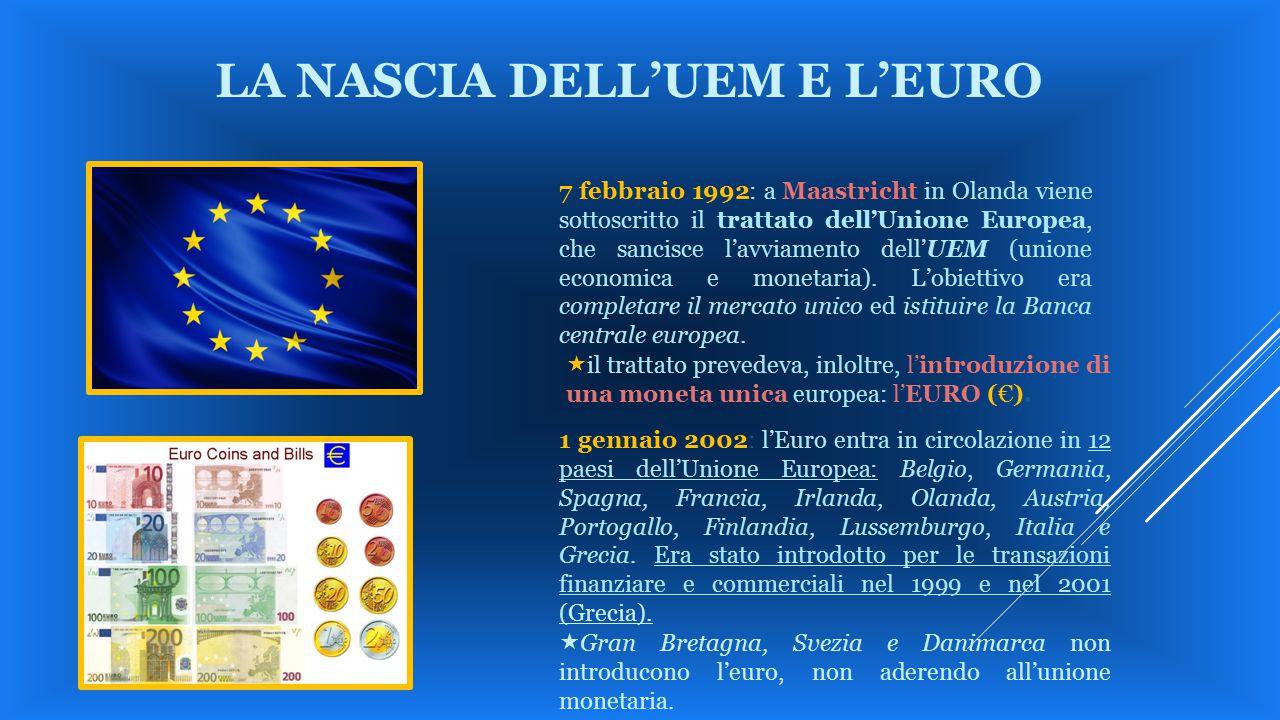 7 febbraio 1992: a Maastricht in Olanda viene sottoscritto il trattato dell'Unione Europea, che sancisce l'avviamento dell'UEM (unione economica e mon