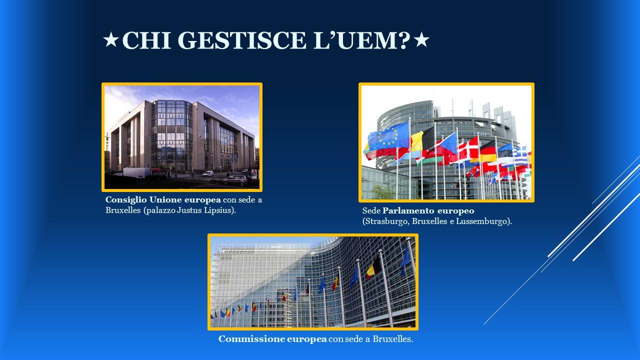 Sede Parlamento europeo (Strasburgo, Bruxelles e Lussemburgo). Consiglio Unione europea con sede a Bruxelles (palazzo Justus Lipsius). Commissione eur