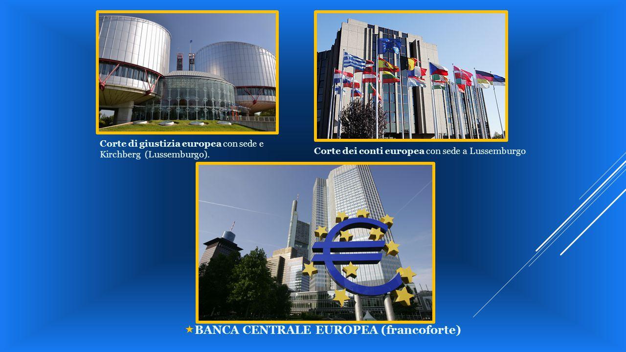 Corte di giustizia europea con sede e Kirchberg (Lussemburgo). Corte dei conti europea con sede a Lussemburgo.  BANCA CENTRALE EUROPEA (francoforte)