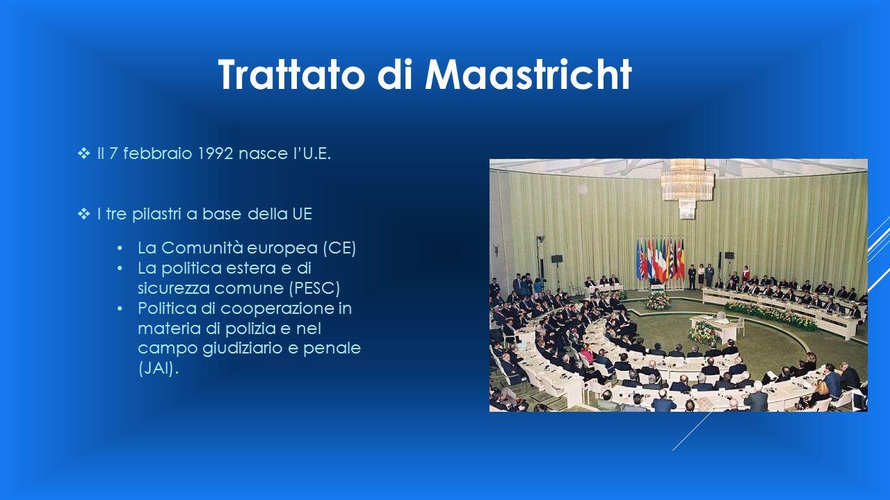 Trattato di Maastricht  Il 7 febbraio 1992 nasce l'U.E.  I tre pilastri a base della UE La Comunità europea (CE) La politica estera e di sicurezza c