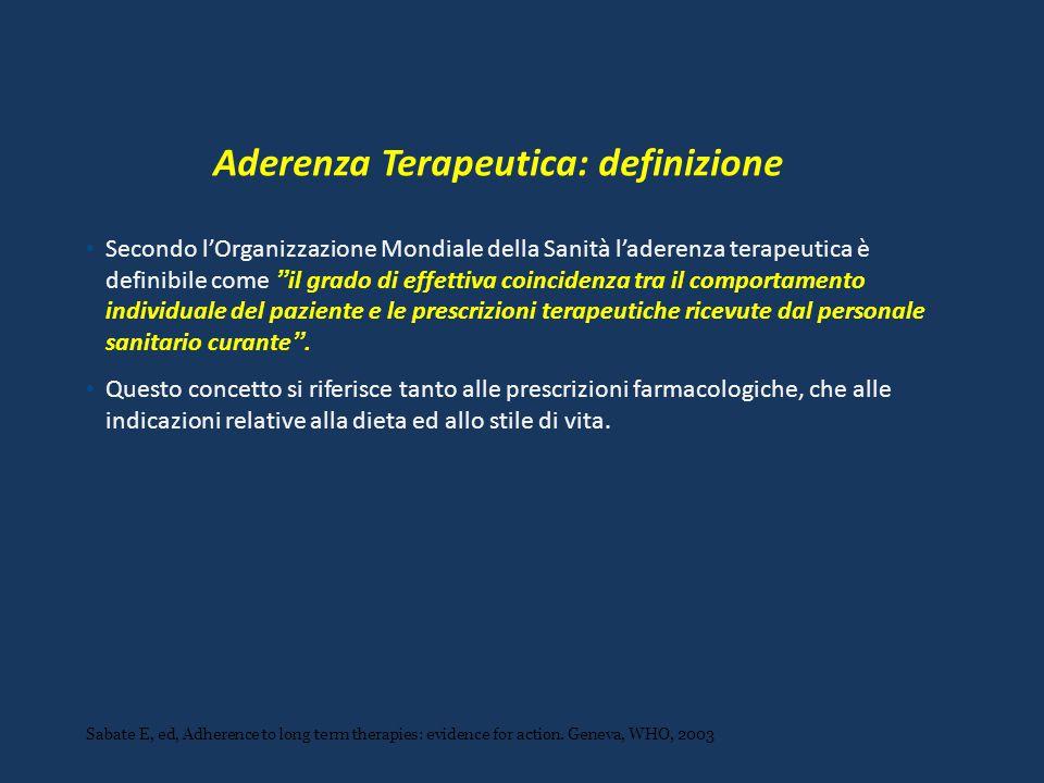 Aderenza Terapeutica: definizione Secondo l'Organizzazione Mondiale della Sanità l'aderenza terapeutica è definibile come il grado di effettiva coincidenza tra il comportamento individuale del paziente e le prescrizioni terapeutiche ricevute dal personale sanitario curante .