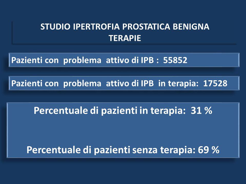 Pazienti con problema attivo di IPB : 55852 Pazienti con problema attivo di IPB in terapia: 17528 Percentuale di pazienti in terapia: 31 % Percentuale di pazienti senza terapia: 69 % Percentuale di pazienti in terapia: 31 % Percentuale di pazienti senza terapia: 69 %