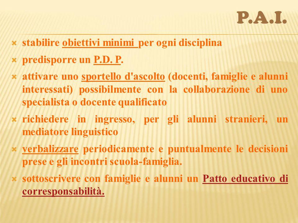  stabilire obiettivi minimi per ogni disciplina  predisporre un P.D.