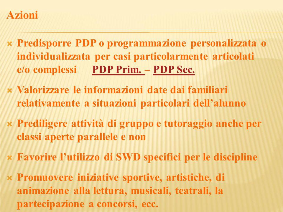 Azioni  Predisporre PDP o programmazione personalizzata o individualizzata per casi particolarmente articolati e/o complessi PDP Prim.