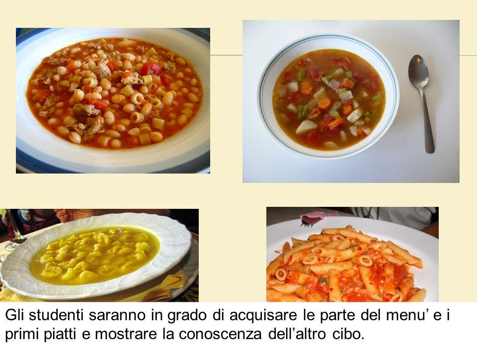  Percorsi wb 4.11, 4.12 Gli studenti saranno in grado di acquisare le parte del menu' e i primi piatti e mostrare la conoscenza dell'altro cibo.