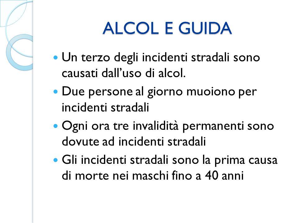 ALCOL E GUIDA ALCOL E GUIDA Un terzo degli incidenti stradali sono causati dall'uso di alcol. Due persone al giorno muoiono per incidenti stradali Ogn