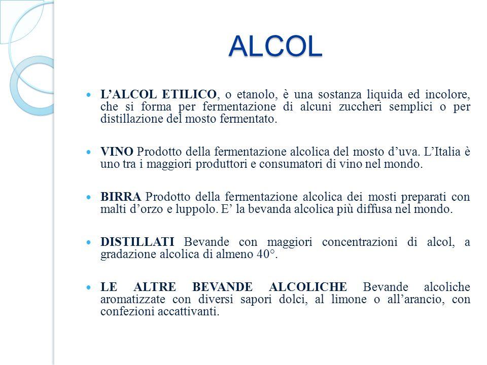 ALCOL L'ALCOL ETILICO, o etanolo, è una sostanza liquida ed incolore, che si forma per fermentazione di alcuni zuccheri semplici o per distillazione d
