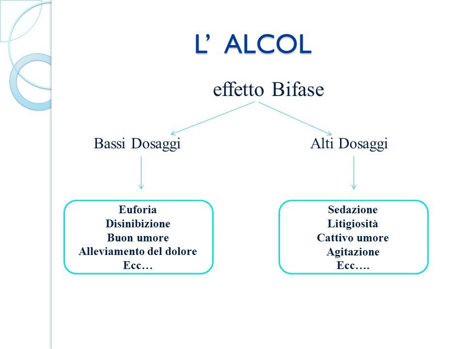 L' ALCOL L' ALCOL effetto Bifase Bassi DosaggiAlti Dosaggi Euforia Disinibizione Buon umore Alleviamento del dolore Ecc… Sedazione Litigiosità Cattivo