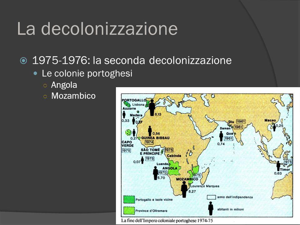 La decolonizzazione  1975-1976: la seconda decolonizzazione Le colonie portoghesi ○ Angola ○ Mozambico