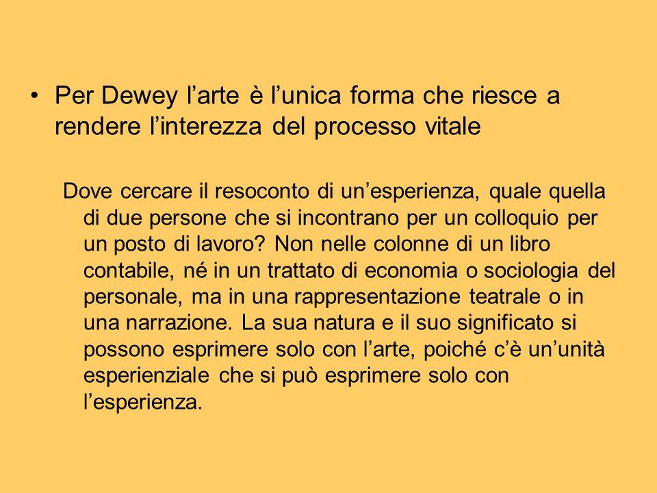 Per Dewey l'arte è l'unica forma che riesce a rendere l'interezza del processo vitale Dove cercare il resoconto di un'esperienza, quale quella di due