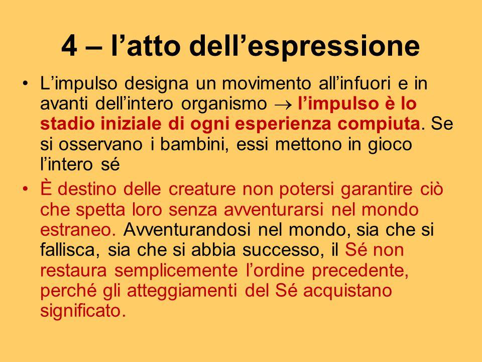 4 – l'atto dell'espressione L'impulso designa un movimento all'infuori e in avanti dell'intero organismo  l'impulso è lo stadio iniziale di ogni espe