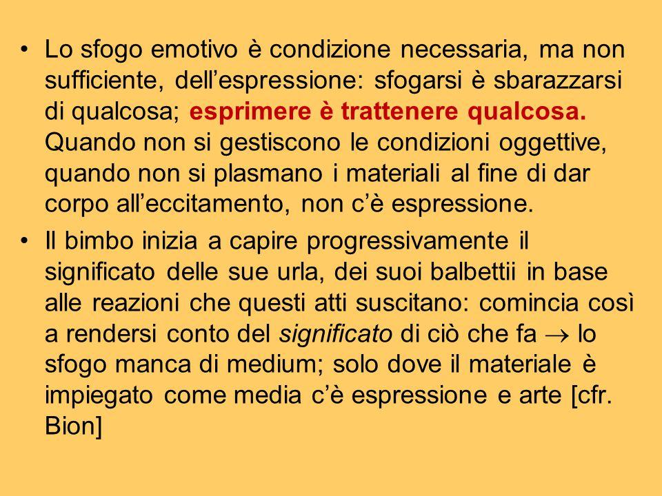 Lo sfogo emotivo è condizione necessaria, ma non sufficiente, dell'espressione: sfogarsi è sbarazzarsi di qualcosa; esprimere è trattenere qualcosa. Q