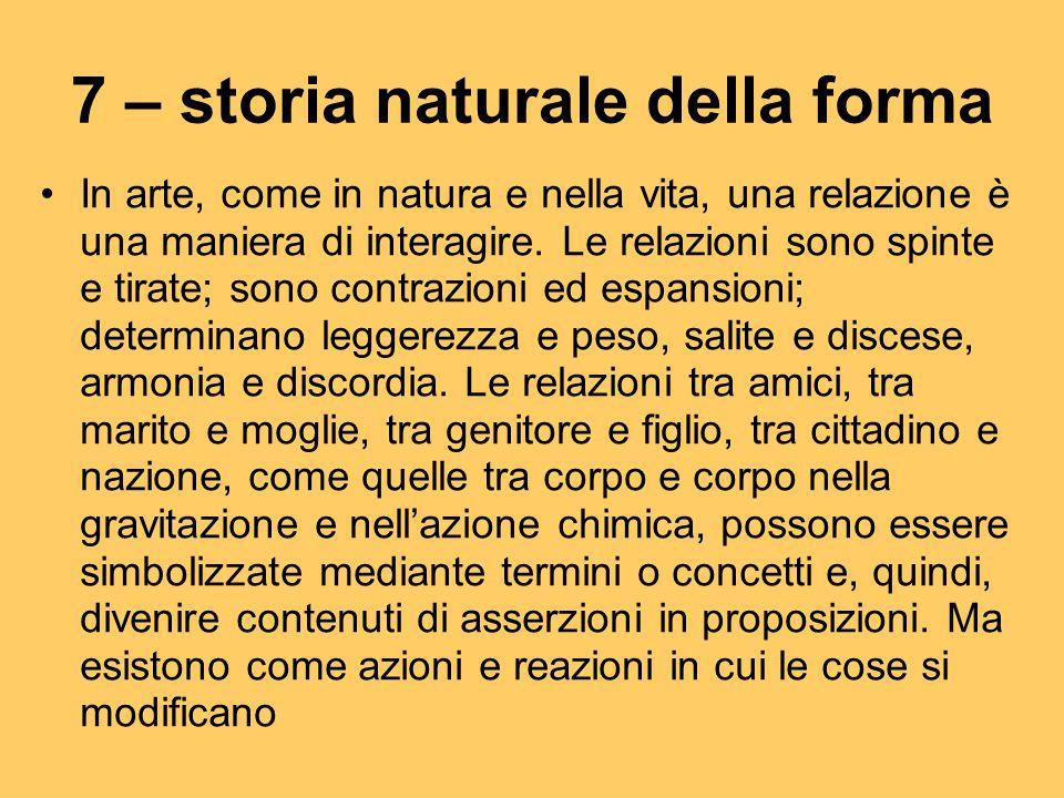 7 – storia naturale della forma In arte, come in natura e nella vita, una relazione è una maniera di interagire. Le relazioni sono spinte e tirate; so