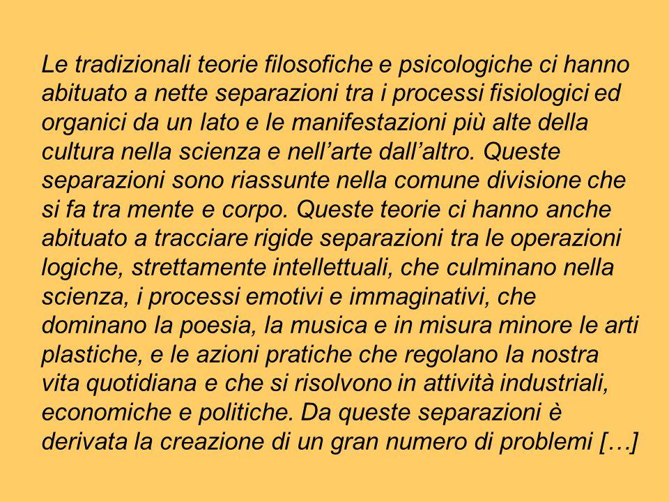 Le tradizionali teorie filosofiche e psicologiche ci hanno abituato a nette separazioni tra i processi fisiologici ed organici da un lato e le manifes
