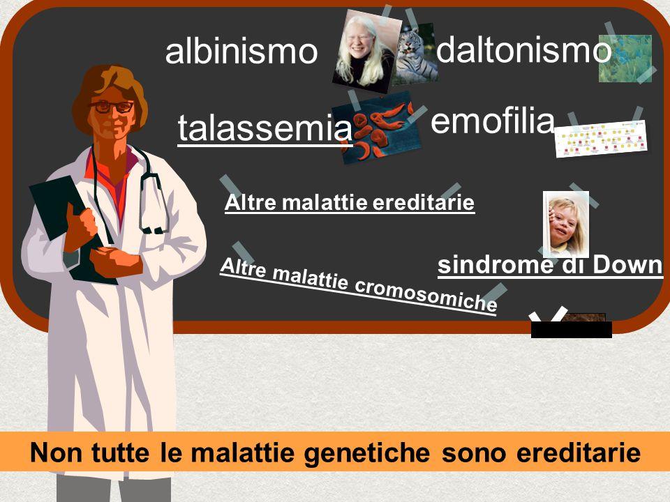 emofilia albinismo daltonismo Non tutte le malattie genetiche sono ereditarie talassemia Altre malattie ereditarie Altre malattie cromosomiche sindrome di Down
