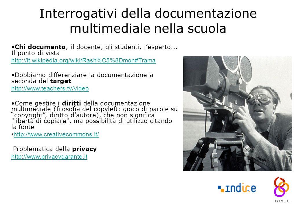 13 Interrogativi della documentazione multimediale nella scuola Chi documenta, il docente, gli studenti, l'esperto... Il punto di vista http://it.wiki