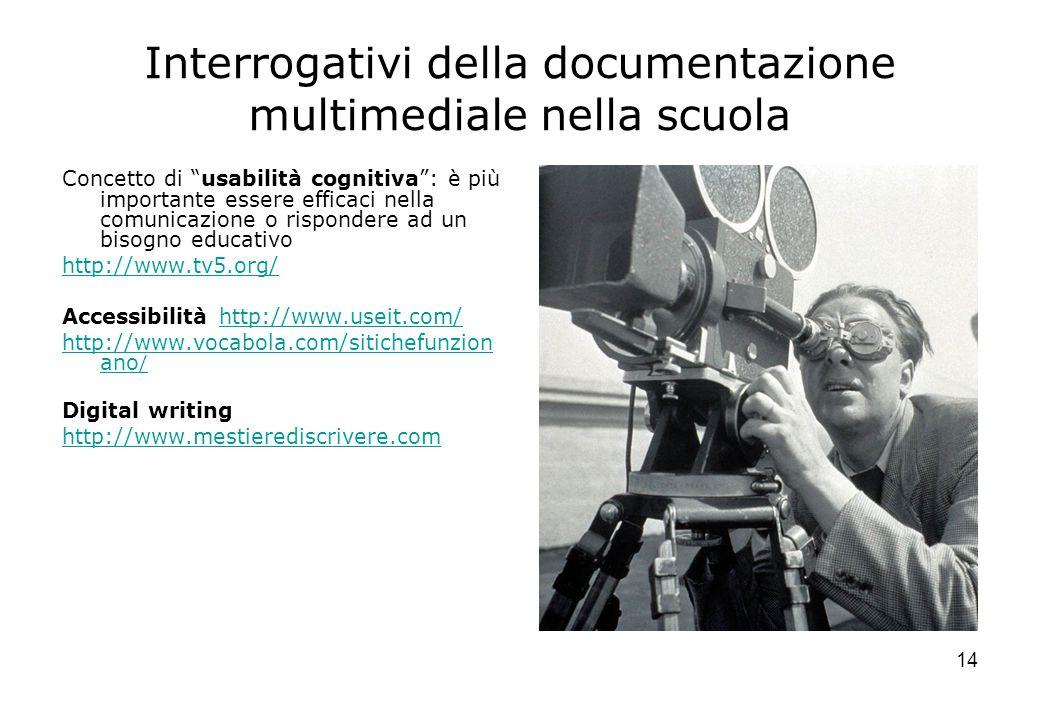 """14 Interrogativi della documentazione multimediale nella scuola Concetto di """"usabilità cognitiva"""": è più importante essere efficaci nella comunicazion"""