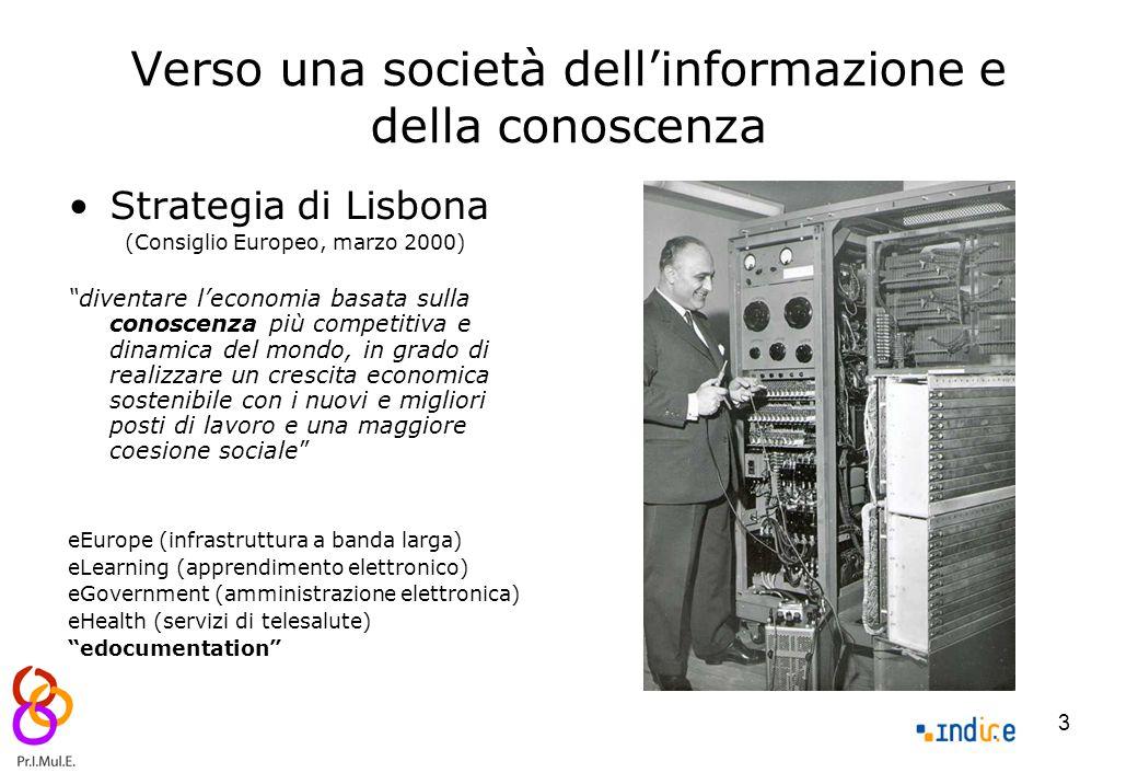 """3 Verso una società dell'informazione e della conoscenza Strategia di Lisbona (Consiglio Europeo, marzo 2000) """"diventare l'economia basata sulla conos"""