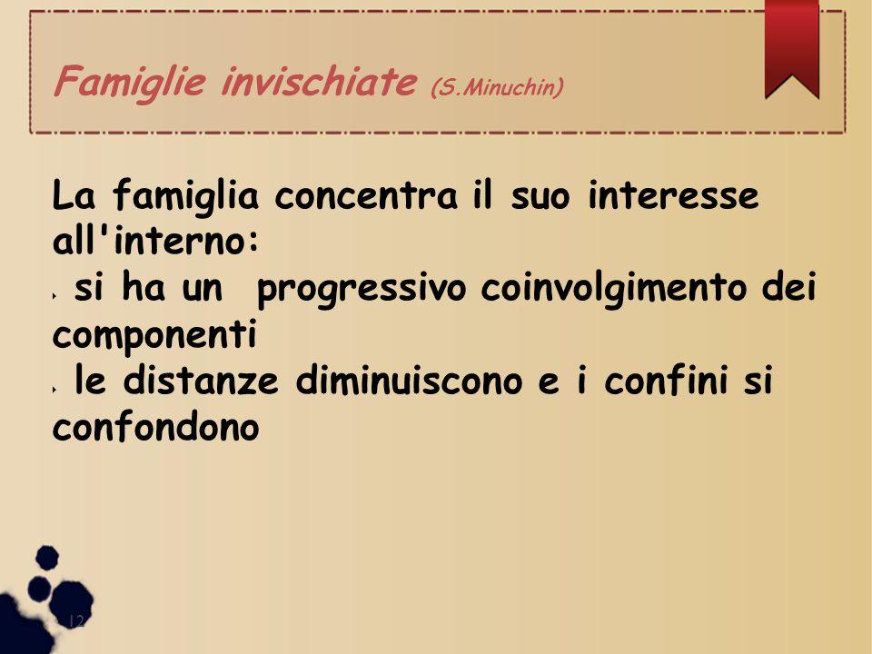 Famiglie invischiate (S.Minuchin) La famiglia concentra il suo interesse all'interno:  si ha un progressivo coinvolgimento dei componenti  le distan