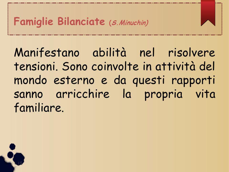 Famiglie Bilanciate (S.Minuchin) 15 Manifestano abilità nel risolvere tensioni. Sono coinvolte in attività del mondo esterno e da questi rapporti sann