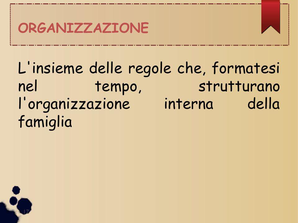 ORGANIZZAZIONE 17 L'insieme delle regole che, formatesi nel tempo, strutturano l'organizzazione interna della famiglia