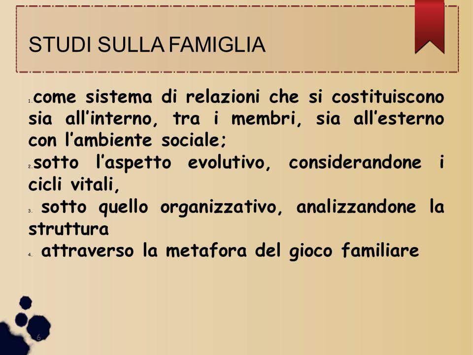 STUDI SULLA FAMIGLIA 1. come sistema di relazioni che si costituiscono sia all'interno, tra i membri, sia all'esterno con l'ambiente sociale; 2. sotto