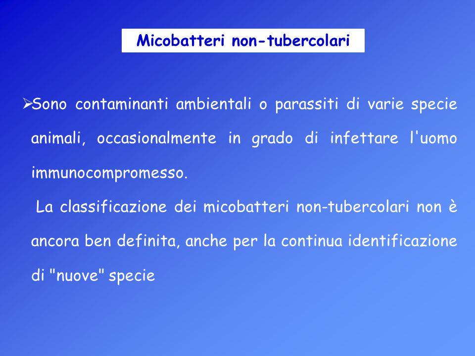 Micobatteri non-tubercolari  Sono contaminanti ambientali o parassiti di varie specie animali, occasionalmente in grado di infettare l'uomo immunocom