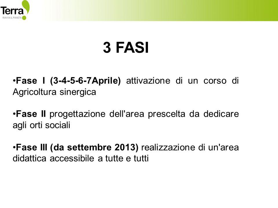3 FASI Fase I (3-4-5-6-7Aprile) attivazione di un corso di Agricoltura sinergica Fase II progettazione dell area prescelta da dedicare agli orti sociali Fase III (da settembre 2013) realizzazione di un area didattica accessibile a tutte e tutti
