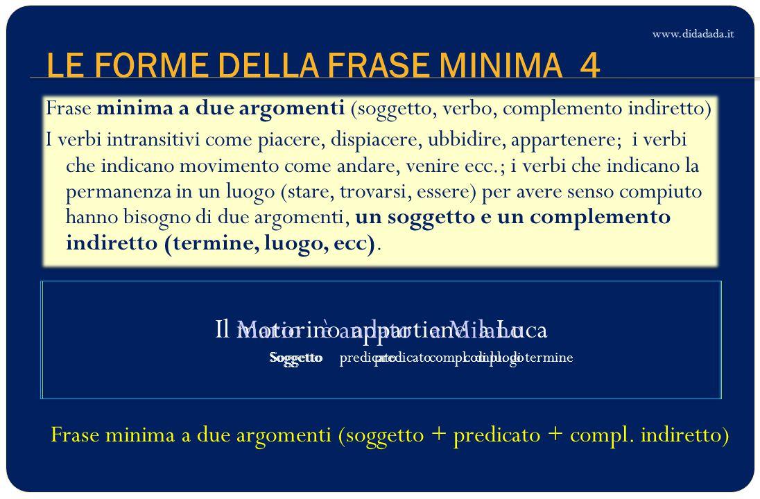 LE FORME DELLA FRASE MINIMA 4 Il motorino appartiene a Luca Soggetto predicato compl.