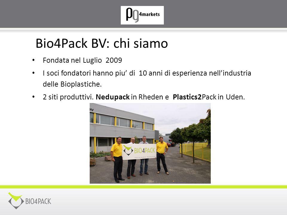 Bio4Pack BV: chi siamo Fondata nel Luglio 2009 I soci fondatori hanno piu' di 10 anni di esperienza nell'industria delle Bioplastiche. 2 siti produtti