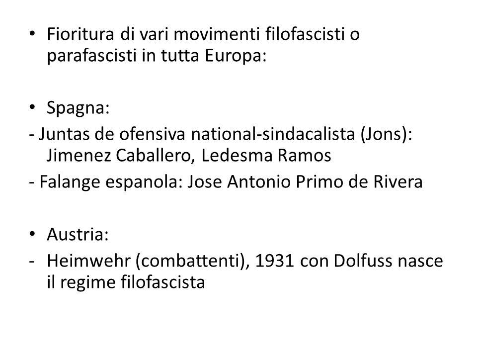 Fioritura di vari movimenti filofascisti o parafascisti in tutta Europa: Spagna: - Juntas de ofensiva national-sindacalista (Jons): Jimenez Caballero,