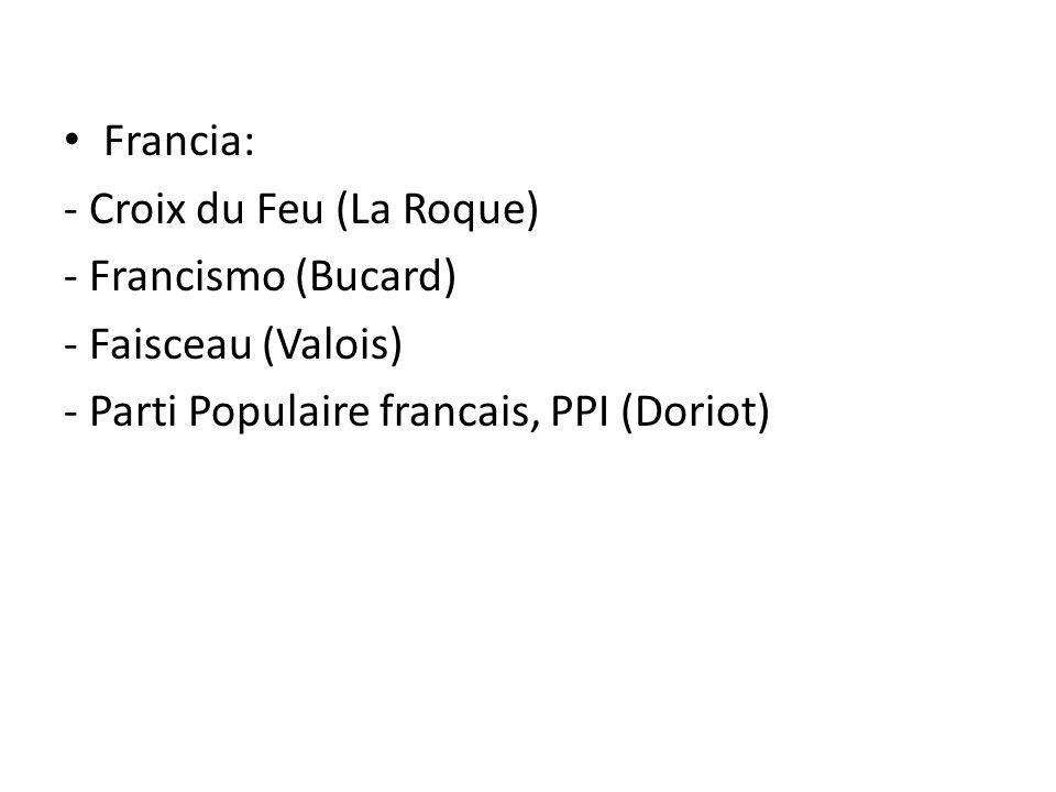 Francia: - Croix du Feu (La Roque) - Francismo (Bucard) - Faisceau (Valois) - Parti Populaire francais, PPI (Doriot)