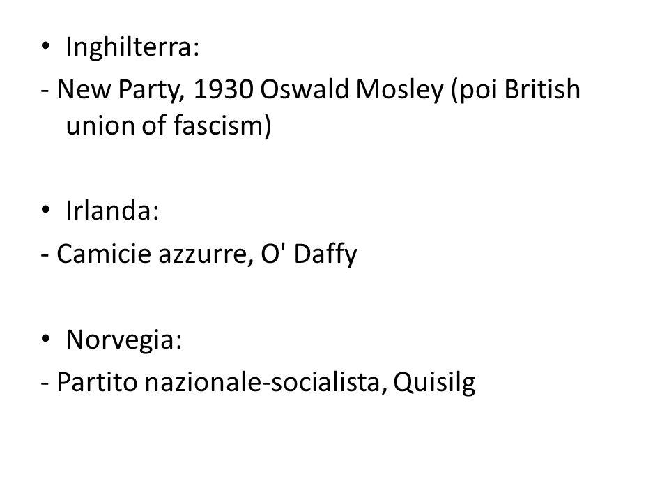 Inghilterra: - New Party, 1930 Oswald Mosley (poi British union of fascism) Irlanda: - Camicie azzurre, O' Daffy Norvegia: - Partito nazionale-sociali