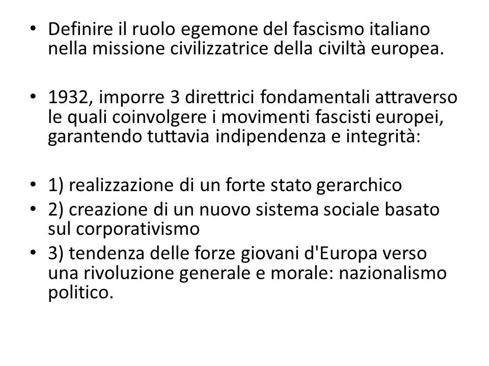 Definire il ruolo egemone del fascismo italiano nella missione civilizzatrice della civiltà europea. 1932, imporre 3 direttrici fondamentali attravers
