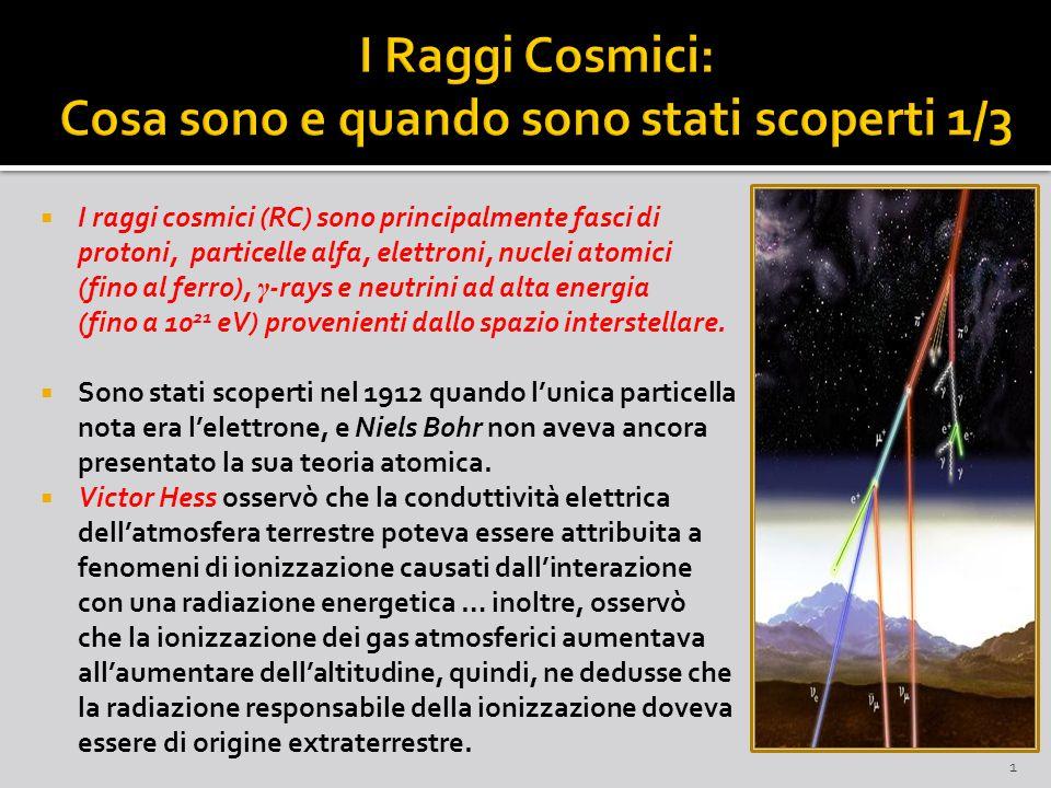 I raggi cosmici (RC) sono principalmente fasci di protoni, particelle alfa, elettroni, nuclei atomici (fino al ferro), γ -rays e neutrini ad alta energia (fino a 10 21 eV) provenienti dallo spazio interstellare.