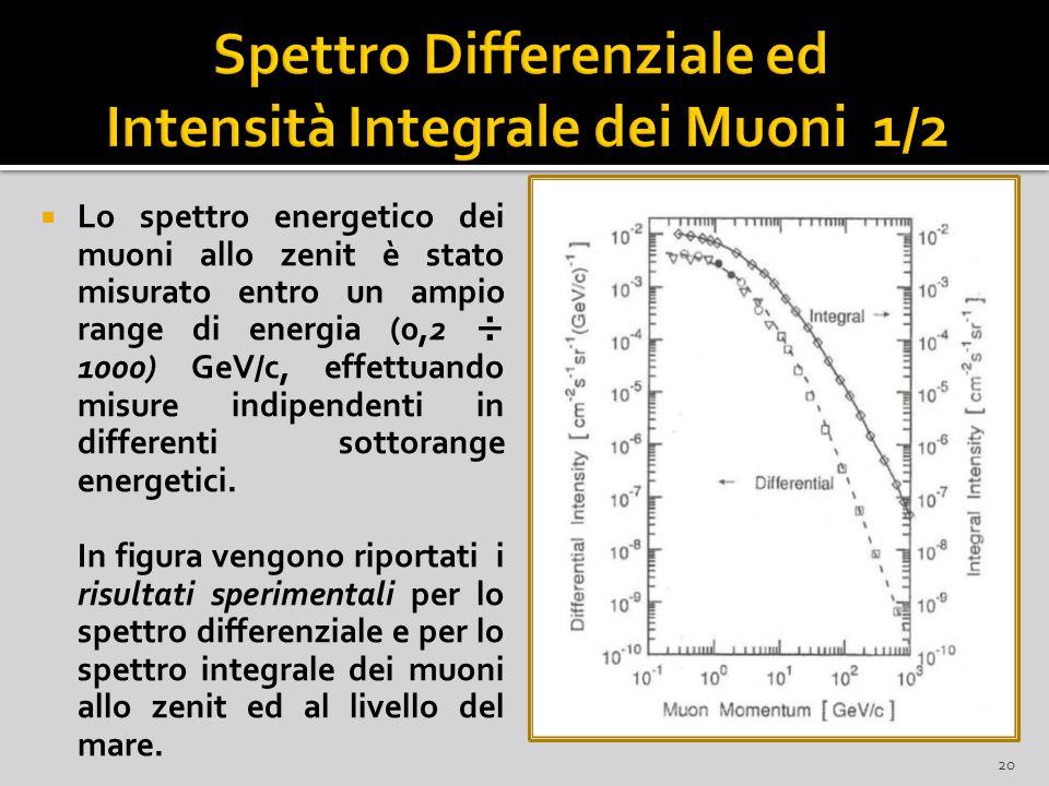  Lo spettro energetico dei muoni allo zenit è stato misurato entro un ampio range di energia (0,2 ÷ 1000) GeV/c, effettuando misure indipendenti in differenti sottorange energetici.