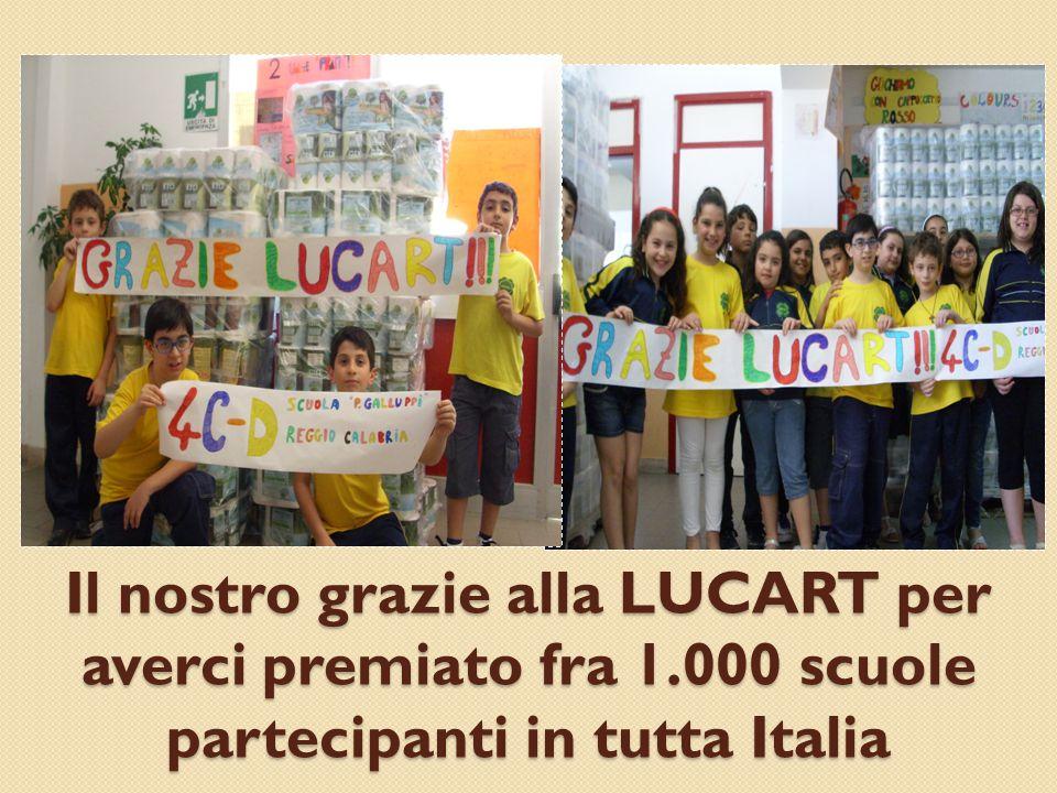 Il nostro grazie alla LUCART per averci premiato fra 1.000 scuole partecipanti in tutta Italia