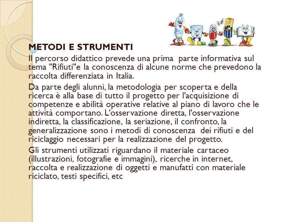 METODI E STRUMENTI Il percorso didattico prevede una prima parte informativa sul tema Rifiuti e la conoscenza di alcune norme che prevedono la raccolta differenziata in Italia.